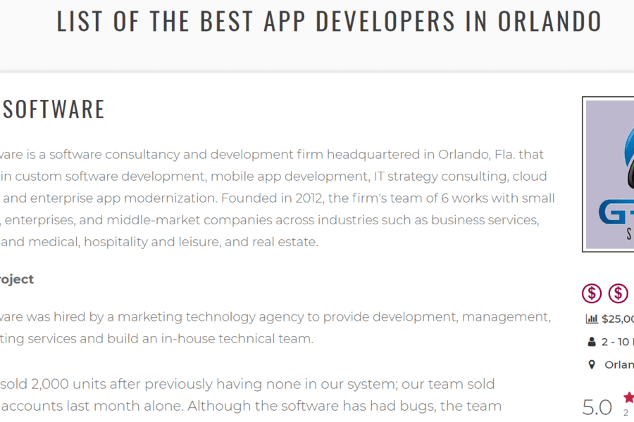 In the News: Grata Software is Named the Top App Development Firm in Orlando Florida!